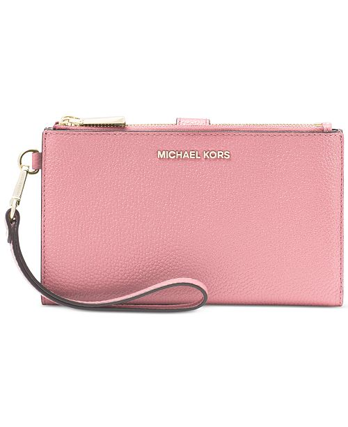 Michael Kors Adele Double-Zip Pebble Leather Phone Wristlet