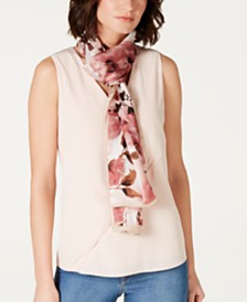 Vince Camuto Silk Watercolor Flowers Oblong Scarf