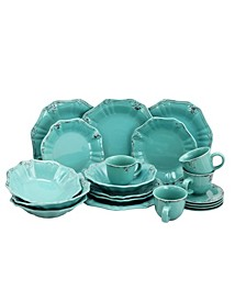 Fleur De Lys 20 Piece Dinnerware Set in Turquoise
