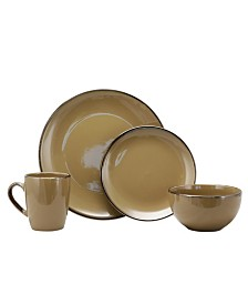 Elama Bristol Grand 16 Piece Dinnerware Set, Warm Taupe