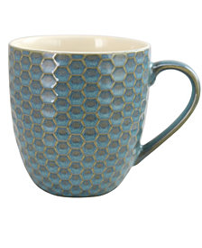Elama Honeycomb 6 Piece 15 Ounce Mug Set, in Turquoise