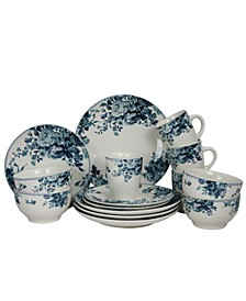 Traditional Blue Rose 16 Piece Dinnerware Set