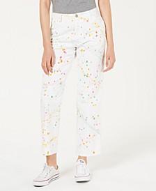 Cotton Paint Splatter High-Rise Carpenter Pants