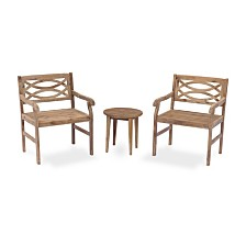 Courtyard Casual Fontana Acacia Outdoor 3 Piece Cafe Set