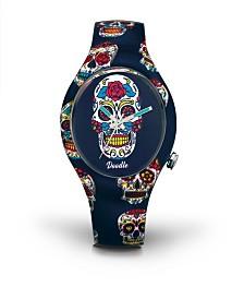 Doodle Watch Blue Skull