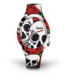 Doodle Watch Roses And Skulls
