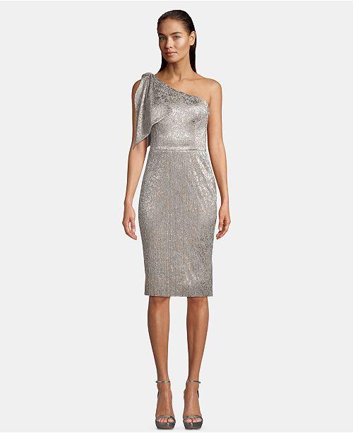 Betsy & Adam One-Shoulder Shimmer Dress