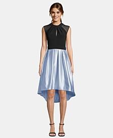 Cap-Sleeve Satin High-Low Dress