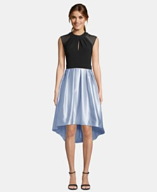 Betsy & Adam Cap-Sleeve Satin High-Low Dress