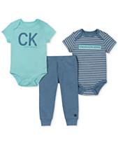 deaed71fc Calvin Klein Baby Boys 3-Pc. Logo-Print Bodysuits & Pants Set