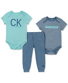 Calvin Klein Baby Boys 3-Pc. Logo-Print Bodysuits & Pants Set