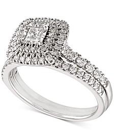 Diamond Princess Halo Bridal Set (3/4 ct. t.w.) in 14k White Gold