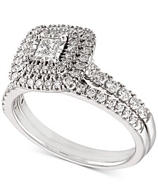 Diamond Princess Halo Bridal Set (3/4 ct. t.w.) in 14k White Gold