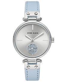 Anne Klein Women's Light Blue Leather Strap Watch 34mm