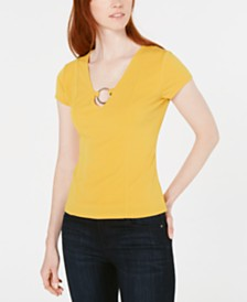 Bar III O-Ring V-Neck Top, Created for Macy's