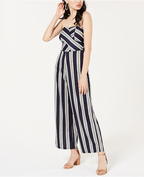 Planet Gold  Juniors' Striped Sweetheart Jumpsuit