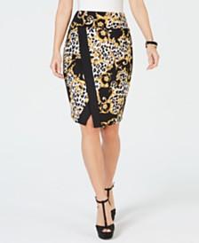 Thalia Sodi Printed Wrap Scuba Skirt, Created for Macy's
