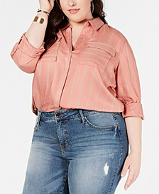 Plus Size Flap-Pocket Button-Up Shirt