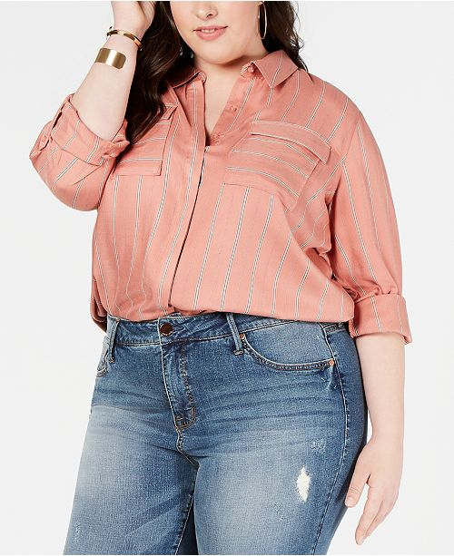 Seven7 Jeans Plus Size Flap-Pocket Button-Up Shirt