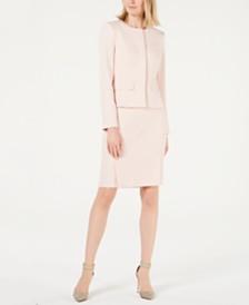 Calvin Klein Peplum Jacket, Pleat-Neck Top & Textured Skirt