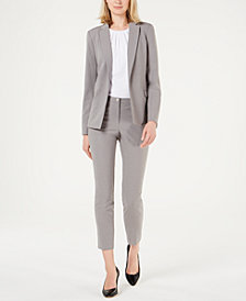 Calvin Klein Open-Front Blazer, Pleated Top & Cropped Pants