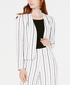 Bar III Striped Collarless Jacket, Created for Macy's