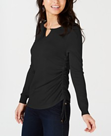 Thalia Sodi Ruched Keyhole Sweater, Created for Macy's