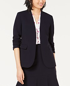Bar III Bi-Stretch Collarless Open-Front Blazer, Created for Macy's