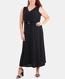 NY Collection Plus Size Faux-Wrap Dress