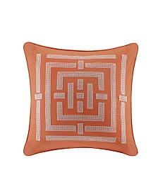 "N Natori Nara 26"" x 26"" Embroidered Cotton Euro Shams"