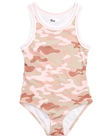 Epic Threads Big Girls Camouflage Ribbed Bodysuit, Created for Macy's