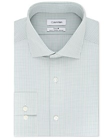 Calvin Klein Steel Slim Fit Non-Iron Stretch Performance  Green Check Dress Shirt