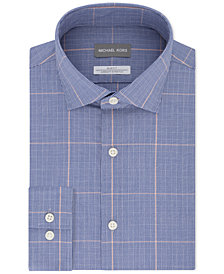Michael Kors Men's Classic/Regular Fit Non-Iron Airsoft Performance Stretch Check Dress Shirt