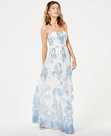 Blondie Nites Juniors' Glitter-Print Strapless Gown