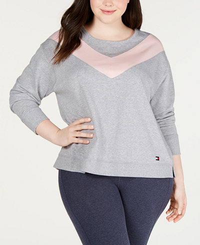 Tommy Hilfiger Sport Plus Size Varsity Colorblocked Sweatshirt