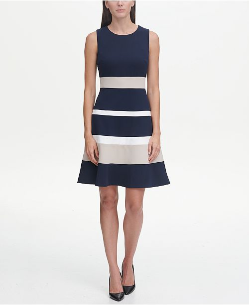848e354ab28 Tommy Hilfiger Scuba Crepe Colorblock Swing Dress   Reviews - Women ...