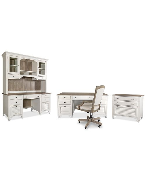 Furniture York Two-Tone Home Office, 5-Pc. Furniture Set (Two-Tone Executive Desk, Credenza Desk, Credenza Hutch, Upholstered Desk Chair & Lateral File Cabinet)