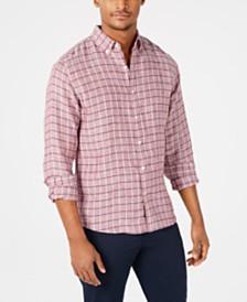 Michael Kors Men's Slim-Fit Windowpane Linen Shirt