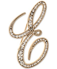 Gold-Tone Crystal Letter Initial Pin