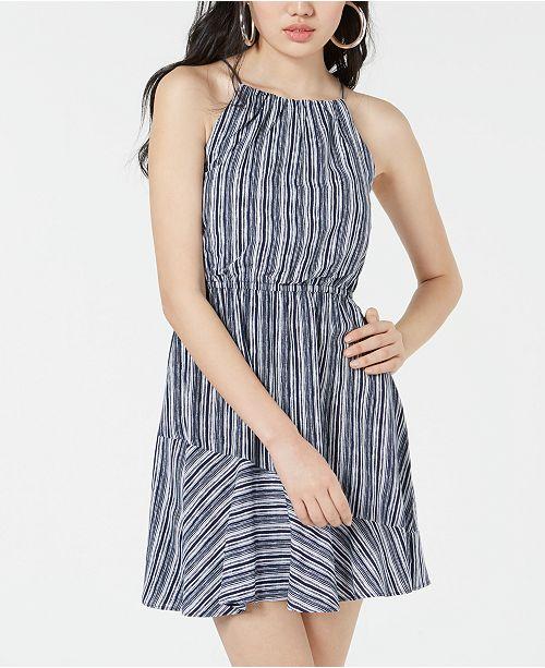 Sequin Hearts Juniors' Striped Flounce Dress