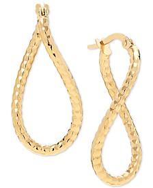 Figure-Eight Hoop Earrings in 10k Gold