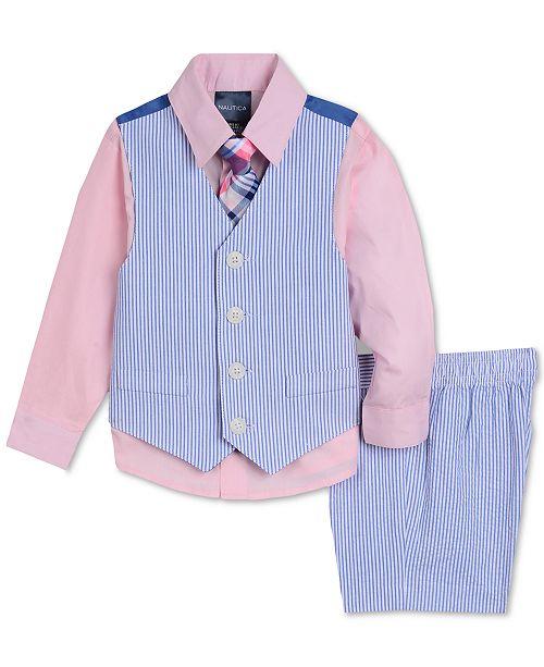 adb15c086 Nautica Baby Boys 4-Pc. Shirt, Vest, Shorts & Necktie Set & Reviews ...