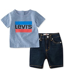 Levi's® Baby Boys 2-Pc. T-Shirt & Denim Shorts Set, Created for Macy's