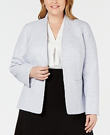 Nine West Plus Size Tweed Kiss-Front Jacket