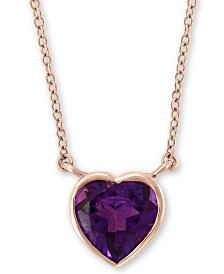 "EFFY® Amethyst (1-1/2 ct. t.w.) Heart 18"" Pendant Necklace in 14k Gold"