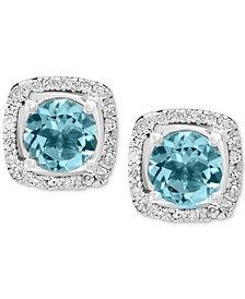 EFFY® Aquamarine (3/4 ct. t.w.) and Diamond (1/8 ct. t.w) Stud Earrings in 14K White Gold