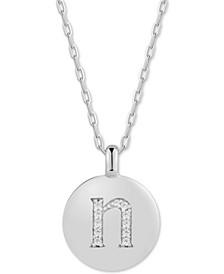 "Swarovski Zirconia Initial Reversible Charm Pendant Necklace in Sterling Silver, Adjustable 16""-20"""