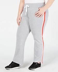 Calvin Klein Performance Plus Size Striped Step-Hem Pants