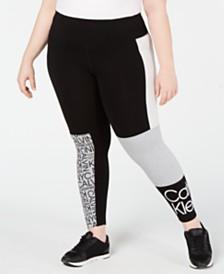 Calvin Klein Performance Plus Size Colorblocked Logo Leggings