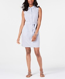 Tommy Hilfiger Sleeveless Striped Shirtdress